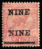 Lot 1418 [1 of 2]:1921 Surcharge 'NINE NINE' and 'PIES PIES' (rounded corner), SG #192a,192b, used singles, Cat £600. (2)