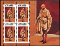 Lot 1587:1998 Ghandi $1.15 sheetlet of 4 x2 both with 'SPECIMEN' ovpt, fresh MUH. (2)