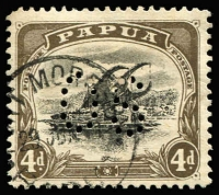 Lot 1302 [1 of 10]:1908-10 Small PAPUA Perf 'OS' Wmk Upright Perf 11: 2½d with Rift flaw [5/3], White leaves & Pole to sail flaw. Plus 4d Rift flaw & 4d Watermark upright P12½ with Rift flaw (5)