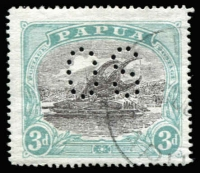 Lot 1048:1930 Bicolours Perf 'OS': 3d black and blue-green, SG #O50, VFU, Cat £150. Scarce.