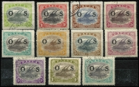 Lot 1049 [2 of 2]:1931-32 Pictorials Optd 'OS': ½d to 2/6d set SG #O55-66, 2/6d with damaged 2 in left value tablet, odd dubious cancel, Cat £325+. (12)