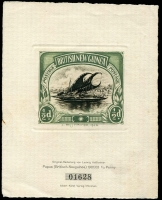 Lot 1444:1923 Hesshaimer enlarged impression of ½d BNG. A very attractive item suitable for the first page of any Papuan collection. Number 01628. Rare.