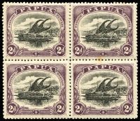 Lot 963:1910-11 Large 'PAPUA' Perf 12½ 2d block of 4, top left unit with C for O in POSTAGE [4/3], SG #77a, tone spot effects right units, Cat £150+