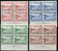 Lot 968 [2 of 2]:1938 50th Anniv British Possession complete set in imprint blocks of 4, SG #158-62, neat central cancels, Cat £220+. (5 blocks)