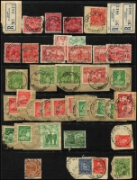 Lot 322 [5 of 6]:A-J Collection mostly on Hagners with covers, stamps & pieces, organised alphabetically, mainly 1900s onwards with duplication. Noted unusual violet 1918 Passed Censor Brisbane on PPC. Range on numeral cancels (1,000s)