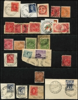 Lot 322 [6 of 6]:A-J Collection mostly on Hagners with covers, stamps & pieces, organised alphabetically, mainly 1900s onwards with duplication. Noted unusual violet 1918 Passed Censor Brisbane on PPC. Range on numeral cancels (1,000s)