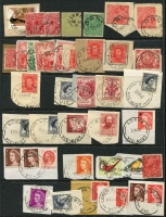 Lot 344 [3 of 6]:J-M Collection: mostly on Hagners with covers, stamps & pieces, organised alphabetically, mainly 1900s onwards with duplication. Noted 1907 violet Cathkin, 1941 boxed RAAF PO Laverton on parcel label, 1975 Lower Norton Creek, 1932 30mm Macedon Upper on registered cover. (1,000s)