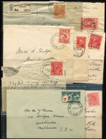 Lot 344 [4 of 11]:J-M Collection: mostly on Hagners with covers, stamps & pieces, organised alphabetically, mainly 1900s onwards with duplication. Noted 1907 violet Cathkin, 1941 boxed RAAF PO Laverton on parcel label, 1975 Lower Norton Creek, 1932 30mm Macedon Upper on registered cover. (1,000s)