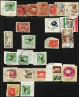 Lot 344 [5 of 11]:J-M Collection: mostly on Hagners with covers, stamps & pieces, organised alphabetically, mainly 1900s onwards with duplication. Noted 1907 violet Cathkin, 1941 boxed RAAF PO Laverton on parcel label, 1975 Lower Norton Creek, 1932 30mm Macedon Upper on registered cover. (1,000s)