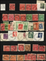 Lot 344 [6 of 11]:J-M Collection: mostly on Hagners with covers, stamps & pieces, organised alphabetically, mainly 1900s onwards with duplication. Noted 1907 violet Cathkin, 1941 boxed RAAF PO Laverton on parcel label, 1975 Lower Norton Creek, 1932 30mm Macedon Upper on registered cover. (1,000s)