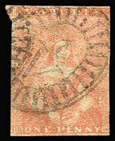 Lot 850:1850-53 Half-Length Ham 3rd State 1d dull red, 3 good margins 4th just cut-into, SG #8a, Cat £200.