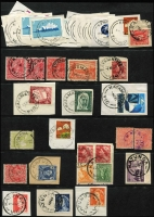 Lot 344 [1 of 11]:J-M Collection: mostly on Hagners with covers, stamps & pieces, organised alphabetically, mainly 1900s onwards with duplication. Noted 1907 violet Cathkin, 1941 boxed RAAF PO Laverton on parcel label, 1975 Lower Norton Creek, 1932 30mm Macedon Upper on registered cover. (1,000s)