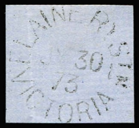 Lot 946:Elaine R.S.: unframed 'ELAINERY STN/JY30/73/VICTORIA' (B2). [Rated 4R - the only recorded date.]  PO 14/4/1873; renamed Elaine PO 23/10/1877.