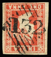 Lot 1111:1854-55 very fine and rare '132' cancel on 4-margins 1a red Die I, SG #Z4.