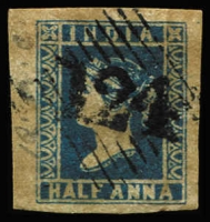 Lot 1110 [2 of 2]:1854-55 '124' cancel on 4-margins 1a blue Die II & Die III (stained), SG #Z2-3, Cat £450. (2)