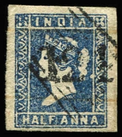 Lot 1110 [1 of 2]:1854-55 '124' cancel on 4-margins 1a blue Die II & Die III (stained), SG #Z2-3, Cat £450. (2)