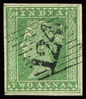 Lot 1115:1854-55 '124' cancel on 4-margins 2a green, SG #Z7. A premium stamp
