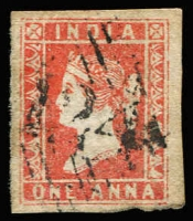 Lot 1113:1854-55 '124' cancel on 4-margins 1a red Die I, SG #Z4, Cat £150 BPA certificate (2000)