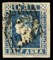 Lot 1109 [3 of 3]:1854-55 '124' on ½a blue Die II, 1a red Die II & 4a blue & red Die II [pos 19], SG #Z2,5,9 range, margins good to just touching, Cat £1,900. A fine group. Sismondo certificate (2009) for 1a & 4a. (3)