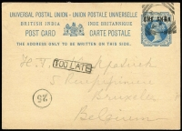 Lot 1310 [1 of 2]:1894-1901 1894 use of 1a on 1½a Postal Card to Belgium, very fine boxed 'TOO LATE' (type I6) on face; 1901 use of 1a on Hotel de l'Europe Turkish Shop PPC of 'Steamer Point' to Italy, boxed 'TOO LATE' (type I7) on face. (2)
