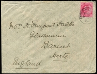 Lot 1360 [1 of 2]:Dthali: 'EXPERIEMENT[AL P.O.]/B-84/MA38/03' on 1a KEVII on cover to England. Used at Dthali for about 1 mth only. (rated 4,000). This PO was set up for the troops and support staff for the 1903 Aden-Yemen Boundary Commission. A very rare cancel.  PO 15/3/1903 closed 14/3/1907