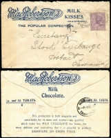 Lot 879 [3 of 3]:1905-11 Advertising Covers NSW Australia Hotel; SA, Halstead & Smyth (rosegrowers), YMCA, Dalgety & Co, Bagot, Shakes & Lewis and Fred Bicknell (confectioner); Tas Massey-Harris; Vic Charles Boles, Mansfield (saddle & harness maker), Beer n Baccy Card, unused and MacRobertson (confectioner). A few faults, and a couple fronts, some nice full back panel illustrations. (10)