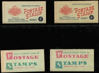Lot 782 [2 of 5]:1927-1966 pre-decimal group with fine Canberra booklet, 1942-49 2/- (2½d KGVI) x3, 1952-53 3/6d (3½d brown KGVI), 1953-57 3/6d (3½d QEII) x5 (wax x3), 1957-59 4/- (4d claret QEII) x7 (stapled remake x1, red stitch x1, wax x2), 1959-60 4/- (4d lake QEII) x2 (wax x1) 1960-62 5/- (5d blue QEII) x5 (wax x2), 1962-64 5/- (5d blue QEII) x1, 1964-65 5/- (5d green QEII) x1, 1965-66 5/- (5d red QEII) x1. All appear complete and are generally in good condition. High catalogue value. (27)