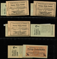 Lot 782 [3 of 5]:1927-1966 pre-decimal group with fine Canberra booklet, 1942-49 2/- (2½d KGVI) x3, 1952-53 3/6d (3½d brown KGVI), 1953-57 3/6d (3½d QEII) x5 (wax x3), 1957-59 4/- (4d claret QEII) x7 (stapled remake x1, red stitch x1, wax x2), 1959-60 4/- (4d lake QEII) x2 (wax x1) 1960-62 5/- (5d blue QEII) x5 (wax x2), 1962-64 5/- (5d blue QEII) x1, 1964-65 5/- (5d green QEII) x1, 1965-66 5/- (5d red QEII) x1. All appear complete and are generally in good condition. High catalogue value. (27)