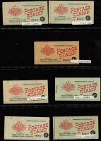 Lot 782 [4 of 5]:1927-1966 pre-decimal group with fine Canberra booklet, 1942-49 2/- (2½d KGVI) x3, 1952-53 3/6d (3½d brown KGVI), 1953-57 3/6d (3½d QEII) x5 (wax x3), 1957-59 4/- (4d claret QEII) x7 (stapled remake x1, red stitch x1, wax x2), 1959-60 4/- (4d lake QEII) x2 (wax x1) 1960-62 5/- (5d blue QEII) x5 (wax x2), 1962-64 5/- (5d blue QEII) x1, 1964-65 5/- (5d green QEII) x1, 1965-66 5/- (5d red QEII) x1. All appear complete and are generally in good condition. High catalogue value. (27)