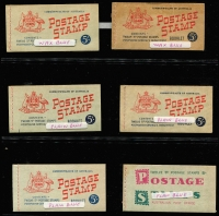 Lot 782 [5 of 5]:1927-1966 pre-decimal group with fine Canberra booklet, 1942-49 2/- (2½d KGVI) x3, 1952-53 3/6d (3½d brown KGVI), 1953-57 3/6d (3½d QEII) x5 (wax x3), 1957-59 4/- (4d claret QEII) x7 (stapled remake x1, red stitch x1, wax x2), 1959-60 4/- (4d lake QEII) x2 (wax x1) 1960-62 5/- (5d blue QEII) x5 (wax x2), 1962-64 5/- (5d blue QEII) x1, 1964-65 5/- (5d green QEII) x1, 1965-66 5/- (5d red QEII) x1. All appear complete and are generally in good condition. High catalogue value. (27)
