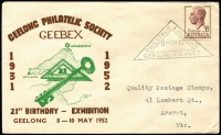 Lot 847 [2 of 4]:Grant (Leslie) 1954-64 Special Event group of covers addressed to Quality Postage Stamps or L Grant of Ararat. Includes Macquarie Island, Geebex, French Fair, 1959 Mt Kosciusko etc. No duplication. Plus unrelated 1955 Cocos & 1964 Guillaux with Cinderella attached. (15)