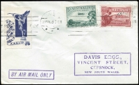 Lot 851 [1 of 2]:1929 3d Airmail with 1½d Canberra on Adelaide to Cessnock cover with 'BY AIR MAIL ONLY' handstamp and Angel vignette, cancelled with 'ADELAIDE/20MAY29330PM/V***' machine cancel.