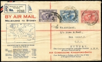 Lot 853 [1 of 2]:1931 Kingsford Smith 2d, 3d and 6d on illustrated registered FDC flown (19 Mar) Melbourne-Sydney, AAMC #182 Cat $125, Cat #143y, Cat $275.