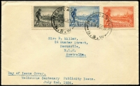 Lot 854 [1 of 2]:1934 Victoria Centenary set 2d, 3d and 1/- on plain FDC cancelled at Newcastle, BW #153y, Cat $800. Superb.