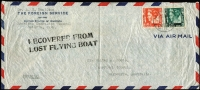 Lot 910 [1 of 2]:1940 (Jan 22) KNILM Crash Cover cover from the US Consular Office in Batavia addressed to Melbourne, 2-line cachet in black 'RECOVERED FROM/LOST FLYING BOAT', AAMC #888, Cat $350. Scarce.