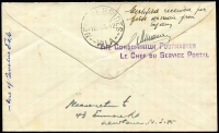 Lot 915 [2 of 2]:1942 Australia - New Hebrides (Aug 5) cover flown by Qantas, censor handstamp, Vila backstamp, minor staining, AAMC #947, only 12 carried, Cat $400.