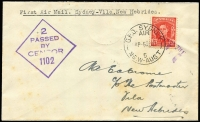 Lot 915 [1 of 2]:1942 Australia - New Hebrides (Aug 5) cover flown by Qantas, censor handstamp, Vila backstamp, minor staining, AAMC #947, only 12 carried, Cat $400.