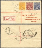 Lot 845 [2 of 3]:1918-68 group with KGV Heads 1½d red 'OS', 4d blue, 1½d brown 'OS' 3d blue, 4d orange 'OS', 4d olive pair, also 1941 Clipper mail to London, 1968 Relief 56 on Mildura Base Hospital front, Maiden Voyage covers for SS Exemplar (1940) and SS Exceller (1941) and 1946? Operation Highjump Antarctic cover. Few small faults, but useful group. (14)