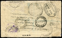 Lot 878 [2 of 2]:1925 (Mar 15) use of 3d & 1½d red pair on registered cover from Wellington, NSW to Scoutmaster, Kostritz, Germany, many backstamps incl Leipzig-Saalfeld TPO, unclaimed and officially repaired on return to Sydney GPO.