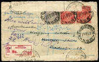 Lot 878 [1 of 2]:1925 (Mar 15) use of 3d & 1½d red pair on registered cover from Wellington, NSW to Scoutmaster, Kostritz, Germany, many backstamps incl Leipzig-Saalfeld TPO, unclaimed and officially repaired on return to Sydney GPO.