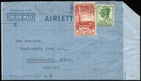 Lot 843:1954 (May 6) use of formular type printed for Commonwealth Bank, printed 'E', to Germany, franked with KGVI 6½d green and 3҄½d Telegraph Centenary tied by Adelaide machine cancel. Scarce.