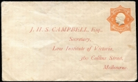 Lot 841:1920-21 2d Orange KGV Star No 'POSTAGE' BW #ES59, on Law Institute of Victoria envelope, Cat $350. Unused, with pencil marks on the face.