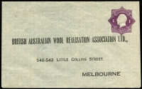 Lot 810:1922-24 1d Violet KGV 'Star' With 'POSTAGE' BW #ES41, printed for British Australian Wool Realisation Association Ltd, very fine unused, unsealed flap, Cat $400.