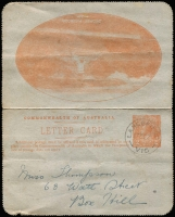 Lot 746:1920-22 2d Orange KGV Sideface P10 framed oval view 'SYDNEY HARBOUR/N.S.W.' on grey surfaced card, BW #LC48, light soiling, Cat $200. 1921 use from Lancefield.