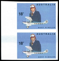 Lot 477:1978 Aviators 18c Hinkler Imperforate pair with blue doctor blade flaw, BW #791b, MNG and wide left margin support the suggestion that this may be a plate proof, Cat $1,200+.