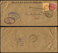 Lot 728 [6 of 6]:½d on Cover incl ½d green Single solo x3 (one perf 'OS'), perf 'OS/NSW' on 1½d brown Postal Card (stained), ½d orange Single solo x2, ½d orange SMW P13½x12½ solo x1 block of 4 x1, 'OS' solo & pair, in combination with 1½d 'OS' x2, uprated 1½d 'OS Envelope x1. (13)