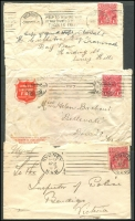 Lot 631 [3 of 5]:1d Red covers & fronts, many to Australian soldiers, noted Military Camp Broadmeadows x2 (one registered perf 'OS'), private perfin, range of shades, condition mixed. (30+)