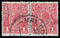 Lot 671 [1 of 2]:1d Red Die III variety Thinned 'US' 3rd state [40], BW #75kb, being the right-hand unit of a horizontal pair, well centred, used Cat $2,000+. National Philatelic Centre certificate (2017).