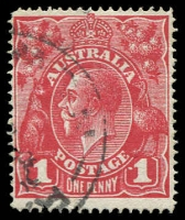 Lot 633 [1 of 2]:1d Carmine-Red (G1) Single-Line Perf with Dot before 1, BW #70(3)f, Cat $250.