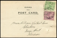 Lot 665:1d Violet & ½d green both perf 'OS/NSW' on 1923 OHMS Registrar General post card. Rare stamps on cover.